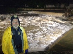 Ted in front of the floodwaters, Clamecy