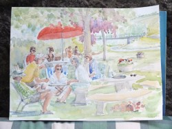 A painting of the group in St-Julien