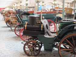 An early steam-powered car at the enormous car museum
