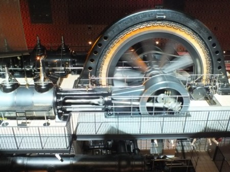 A huge steam-driven electric dynamo at the EDF Museum