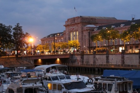 Mulhouse port and train station at dusk