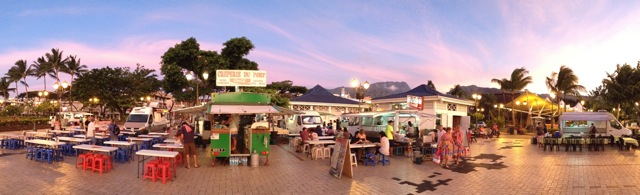 Our final evening at the food trucks in Papeete before our midnight flight to Hawaii