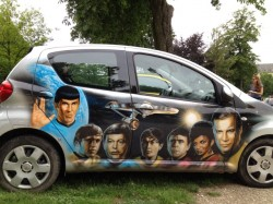 I don't remember cars in Star Trek, but someone certainly did a great airbrush job