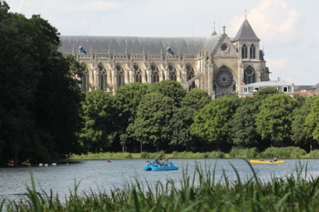 Grand Jard park and cathedral in Chalons-en-Champagne
