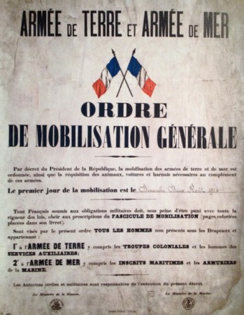 General mobilization order for WWI, August 2, 1914
