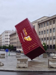 Shipping container as urban sculpture