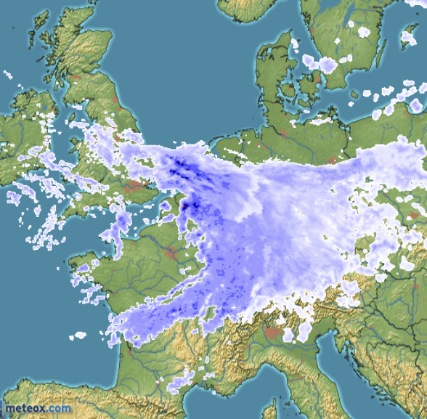The country you can't see under the big ball of rain? That's Belgium Monday evening.