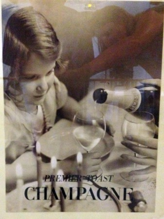Kids love Champagne! An advertising poster from the 1960's.