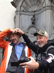 Todd and Ted in front of the Manneken Pis, Brussels