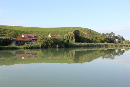 "The ""Sideways Champagne Bottle"" on the Marne River"