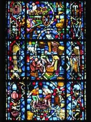 Stained glass depicting the wine-making process