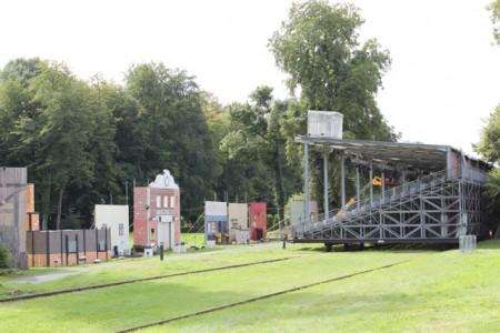 """""""Bleachers on rails"""" at La Cassine"""
