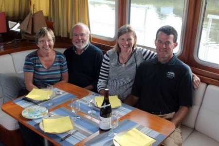 "Dinner with Marie-Helene and Christian onboard ""Wisdom"""