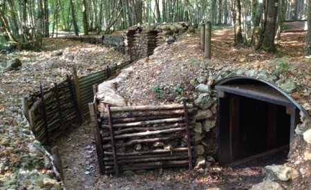 Re-constructed French front line trenches at Bois Brule