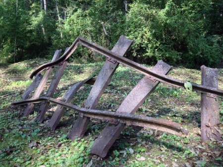 Wreckage from a narrow-gauge military supply railroad