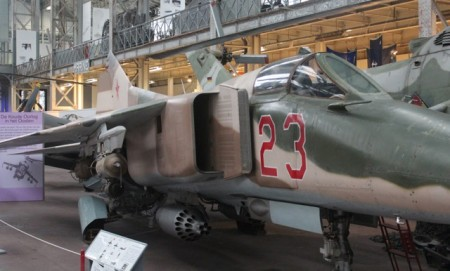 A Russian MIG-23. Note the US-designed rocket launcher pod hanging under the fuselage.