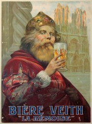 A new king enjoying a pint after his coronation in Reims