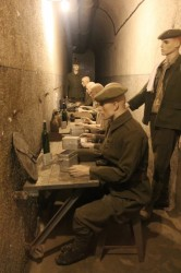 The soldiers had to eat in the corridors on folding tables