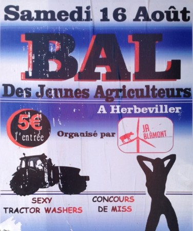 "Ad for the local Young Farmer's Ball, including  ""Sexy Tractor Washers"""