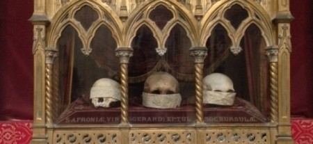 Relics in a local church - see no evil, speak no evil, hear no evil