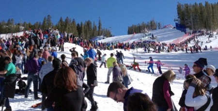 Slopeside crowds gathered to watch Mikaela Shiffrin