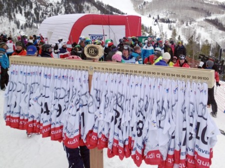 Race bibs at the Men's Slalom start
