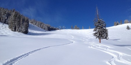 First tracks in Larkspur Bowl