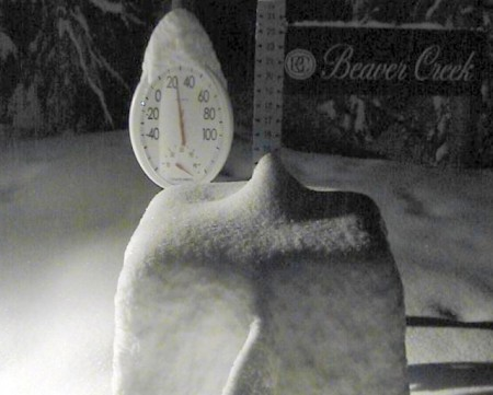 The snowstake (showing 12 inches) at 5am on our final day