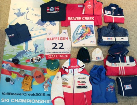 Partial inventory of our haul of free stuff from the World Ski Championships