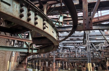 The monorail system for carrying the loaded iron ore hopers