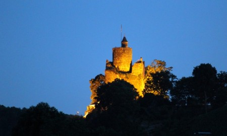 Saarburg Castle at dusk