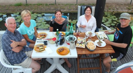 Dinner on the dock with Jean-Pierre, Marianne, Heather, Heather, and Tim