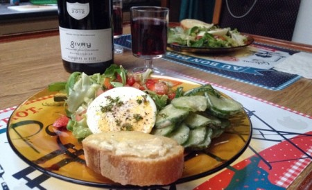Food porn; salad with poached egg, spicy cucumber, toast with melted Delice de Bourgogne - and of course a glass of Givry 2012