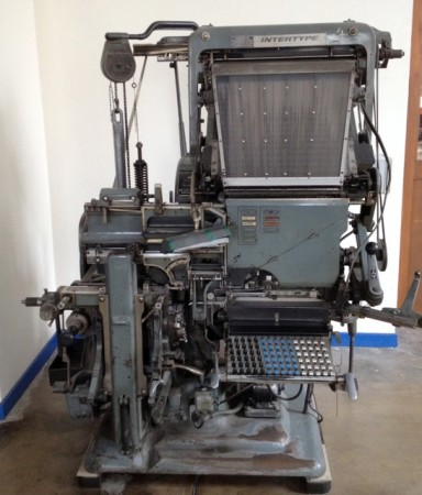 A vintage Linotype machine at the Image Museum