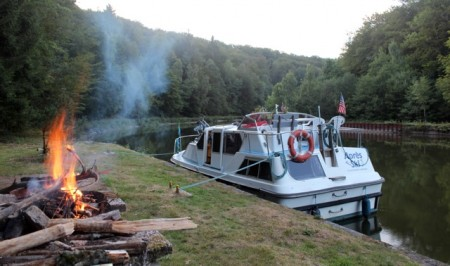 Our campfire on the Vosges Canal