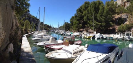 Boats moored in Les Calanques