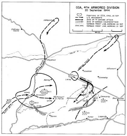 Map of the Arracourt tank battle, Sept 20-21, 1944