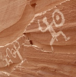 Petroglyphs, left by Ancestral Puebloans* about 800 years ago.