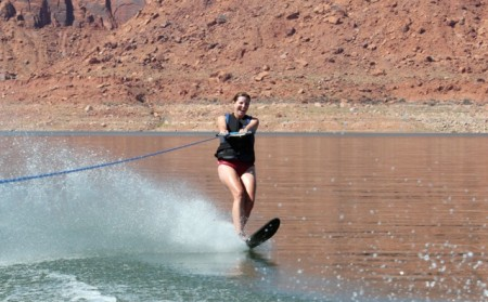 ... and skis away as a slalom skier
