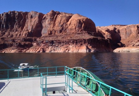 Towing the waterski boat north on Lake Powell