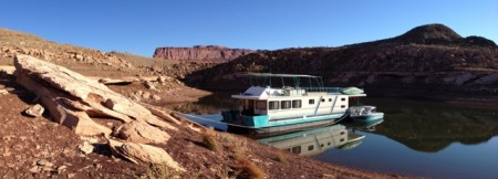 Mike and Elizabeth's houseboat and matching ski boat in perfect Lake Powell conditions