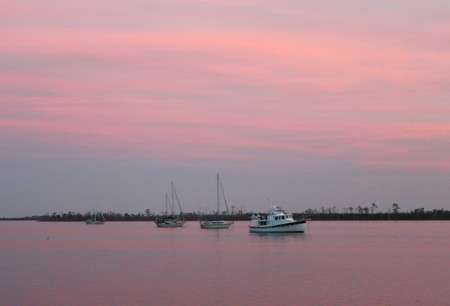 Dusk settles over the Alligator River anchorage