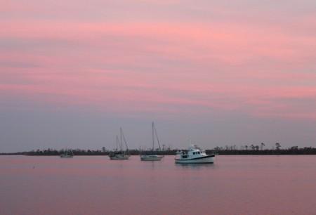 Dusk settles over the Alligator River anchorage