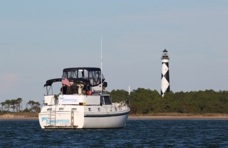 """""""Miss Adventure"""" anchored at Cape Lookout"""