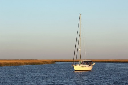 Anchored up a creek with this sailboat