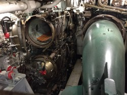 Forward torpedo tubes on the submarine