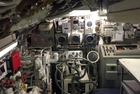 Part of the helm station on USS Clamagore