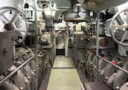 Engine room on the submarine
