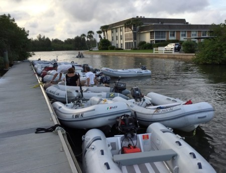 Very busy dinghy dock in Vero Beach