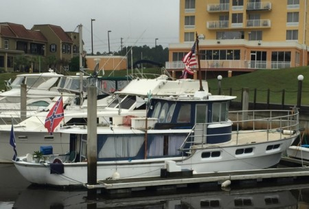 "A redneck boat (note the Rebel flag) at the ""Yacht Club"""